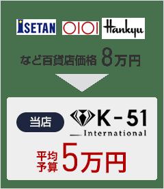 ISETAN OIOI Hankyu など百貨店価格8万円 当店K-51 International 5万円