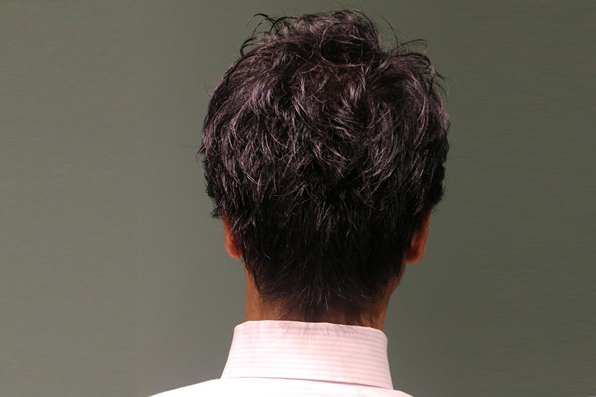 トップ、サイド、バックに、毛流れと束感を出す、毛量調整